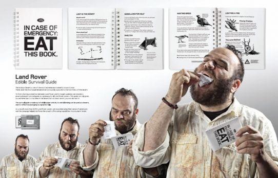 Land Rover imprime manual de sobrevivência que pode ser comido